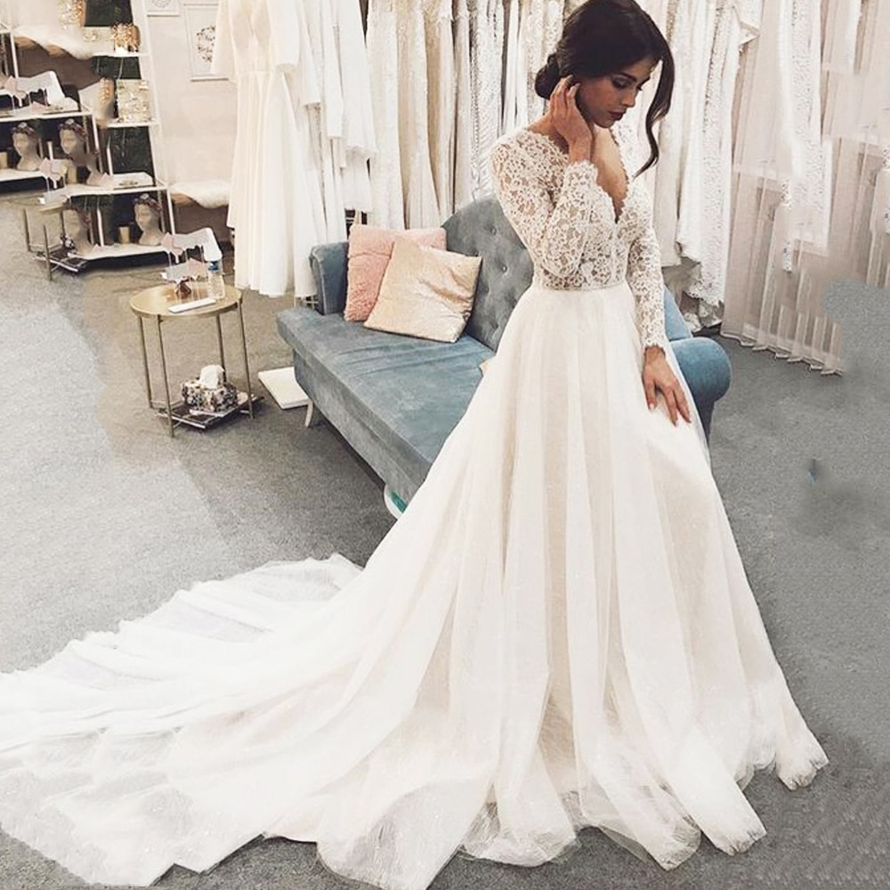 Eightree Ball Gown V Neck Long Sleeves Lace Wedding Dresses Princess Bride Gowns vestido de noiva 2020 Appliques Bridal Dress ha084 eightale wedding dresses boho v neck appliques lace buttons ball gown wedding gowns bride dress vestidos de noiva