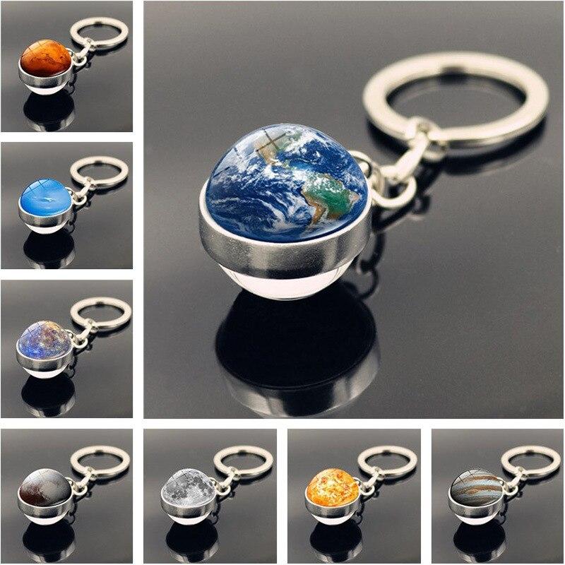 Llavero con diseño de Planeta, Galaxia, nebulosa, espacio, Luna, tierra, Sol, Marte, imagen artística, bola de cristal de doble cara, llavero de coche