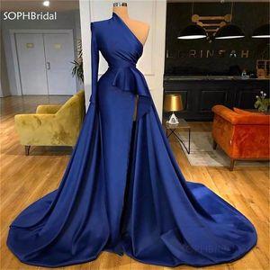 New Front Split Evening Dresses One Shoulder Navy Blue  Peplum Pleats Satin вечерние платья Prom Dress Cheap Robe de Soiree