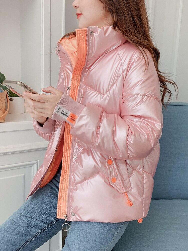 Глянцевая стеганая куртка, женская короткая куртка на зиму, новинка 2021, одноразовая стеганая куртка в Корейском стиле, стеганая куртка