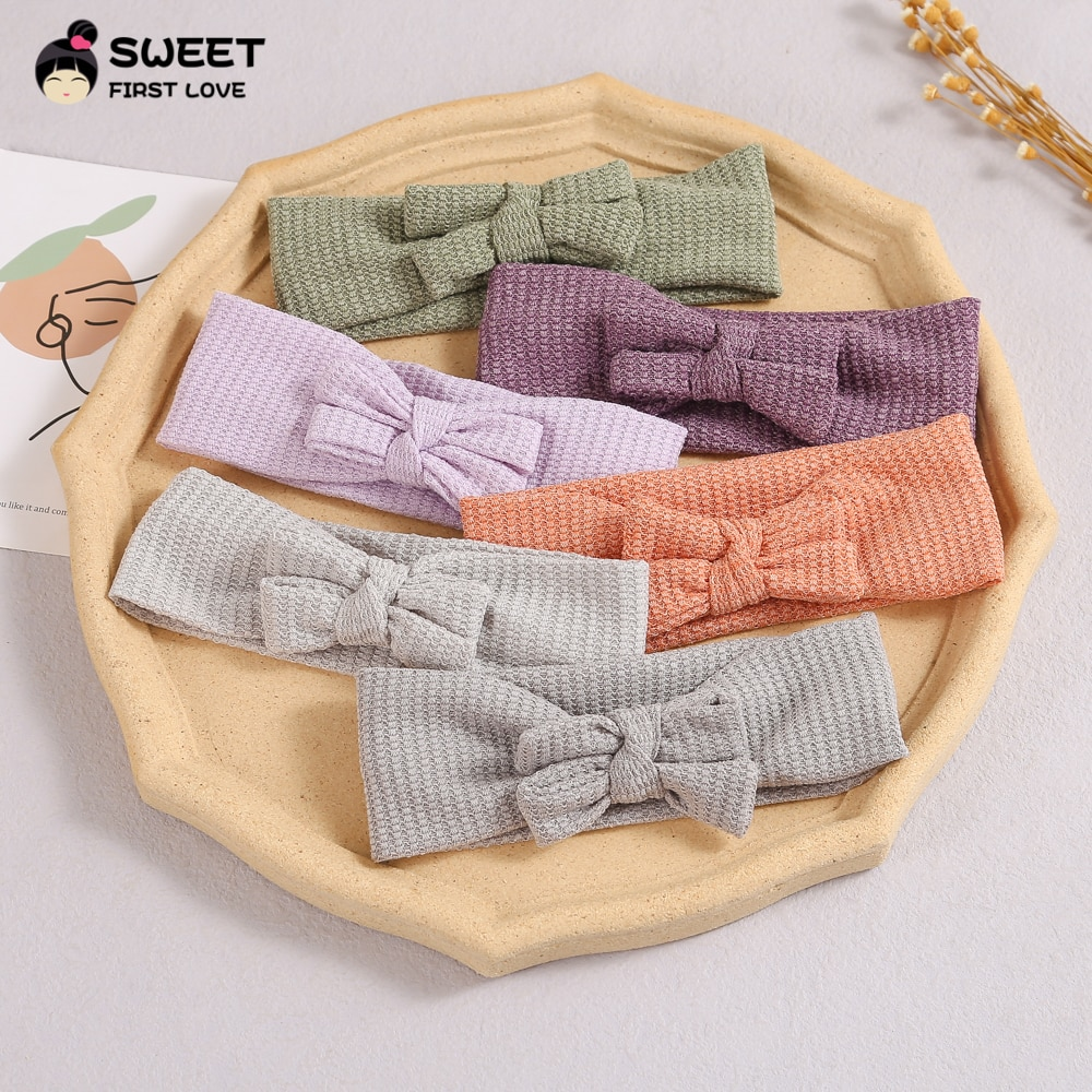 Cotton Hollow Little Bowknot Baby Headband for Newborn Girls Infant Turban Soft Solid Color Bow Headwear Baby Hair Accessories