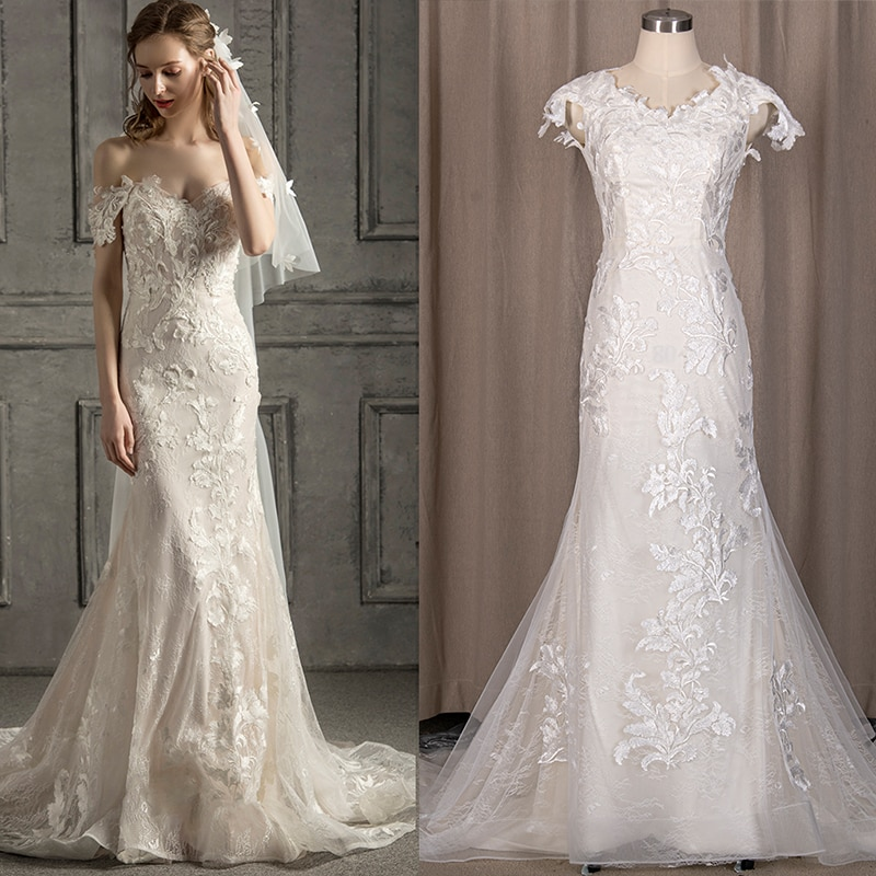 Romantic Lace Mermaid Wedding Dress Cap Sleeves Off The Shoulder 2021 Backless Buttons With Train Bridal Gown Custom Made 3417#