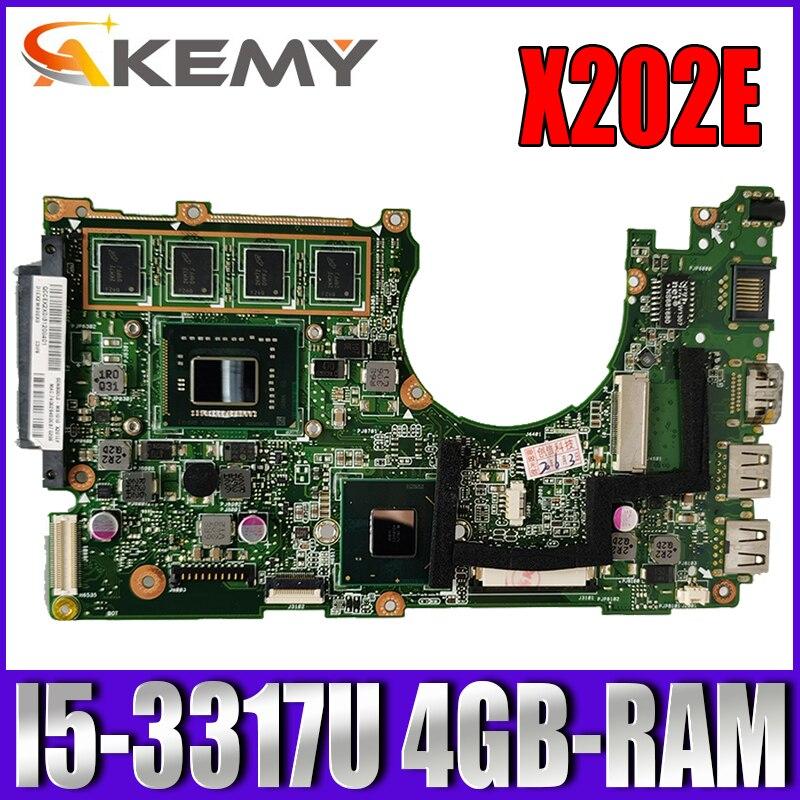 Akemy X202E اللوحة لابتوب ASUS X202E X201E S200E X201EP اللوحة الأصلية 4GB-RAM I5-3317U