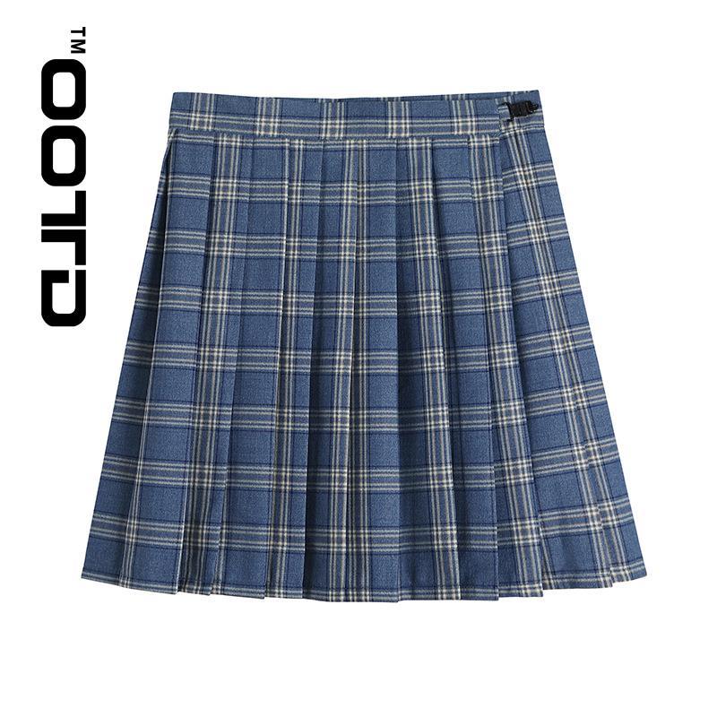OOTD плиссированные юбки, новинка 2021, японский колледж, ветрозащитная светильник-голубая плиссированная клетчатая юбка, форма Jk
