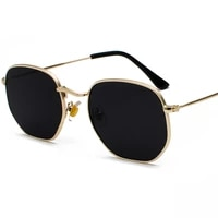vintage gold square sunglasses men hexagon metal frame silver brown black small face sun glasses female unisex summer style 2020