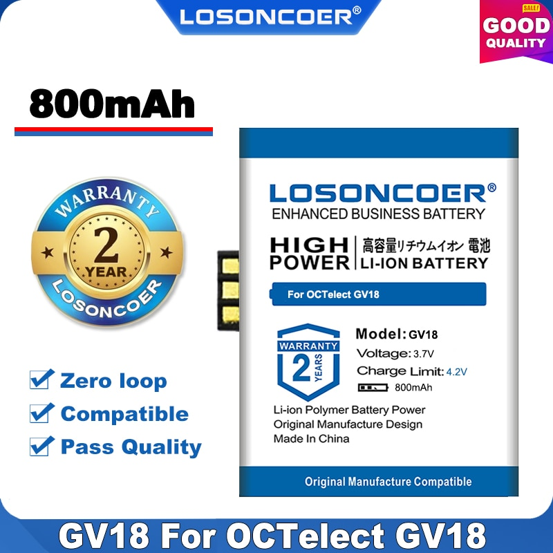 100% batería original de reloj inteligente LOSONCOER Nueva inclusión 800mAh para batería OCTelect GV18