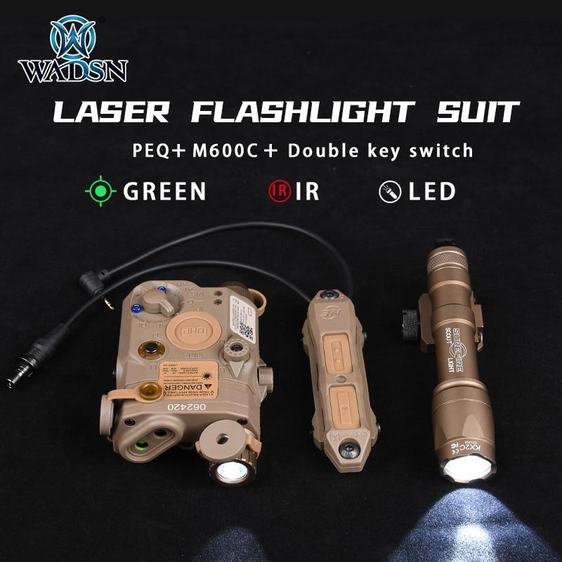 WADSN Tactical Flashlight M600C PEQ15  Green Red Dot Laser IR Lazer LED White Light Remote Switch Pressure Pad Weapon Lights Kit