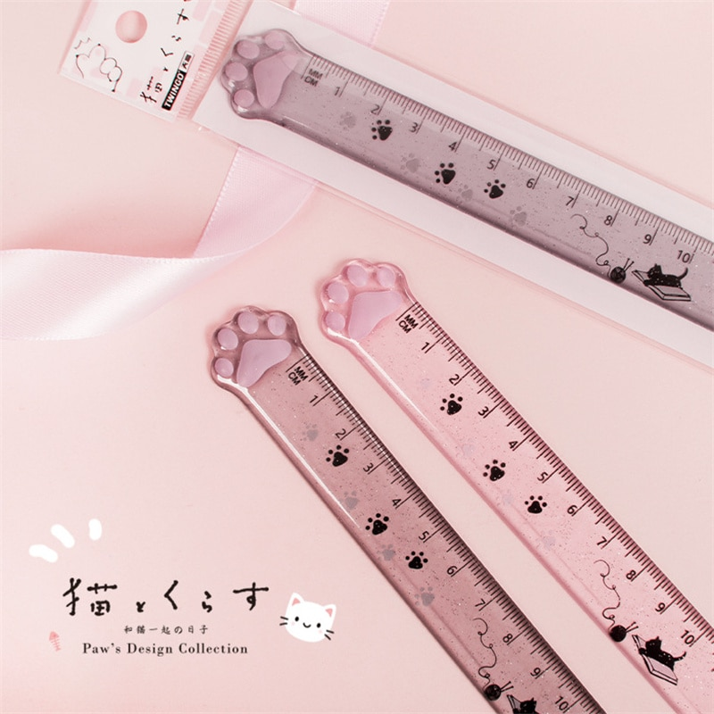 Cute Cat Paw Plastic Straight Rulers Kawaii School Office Supplies Planner Accessories Student Prize
