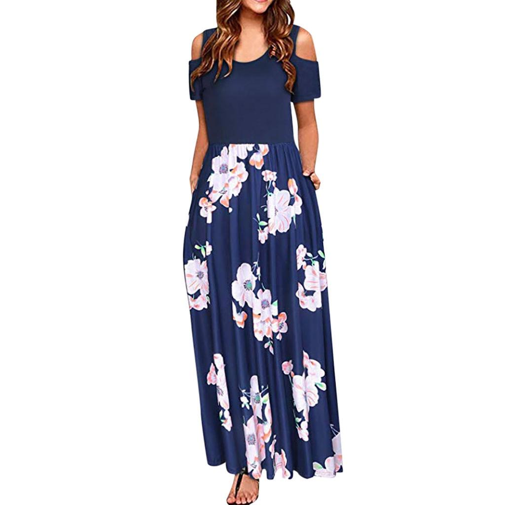 Sagace Women Dress Cold Shoulder Pocket Floral Print Elegant Maxi Short Sleeve Casual Dress Boho Style Summer Платье Летнее