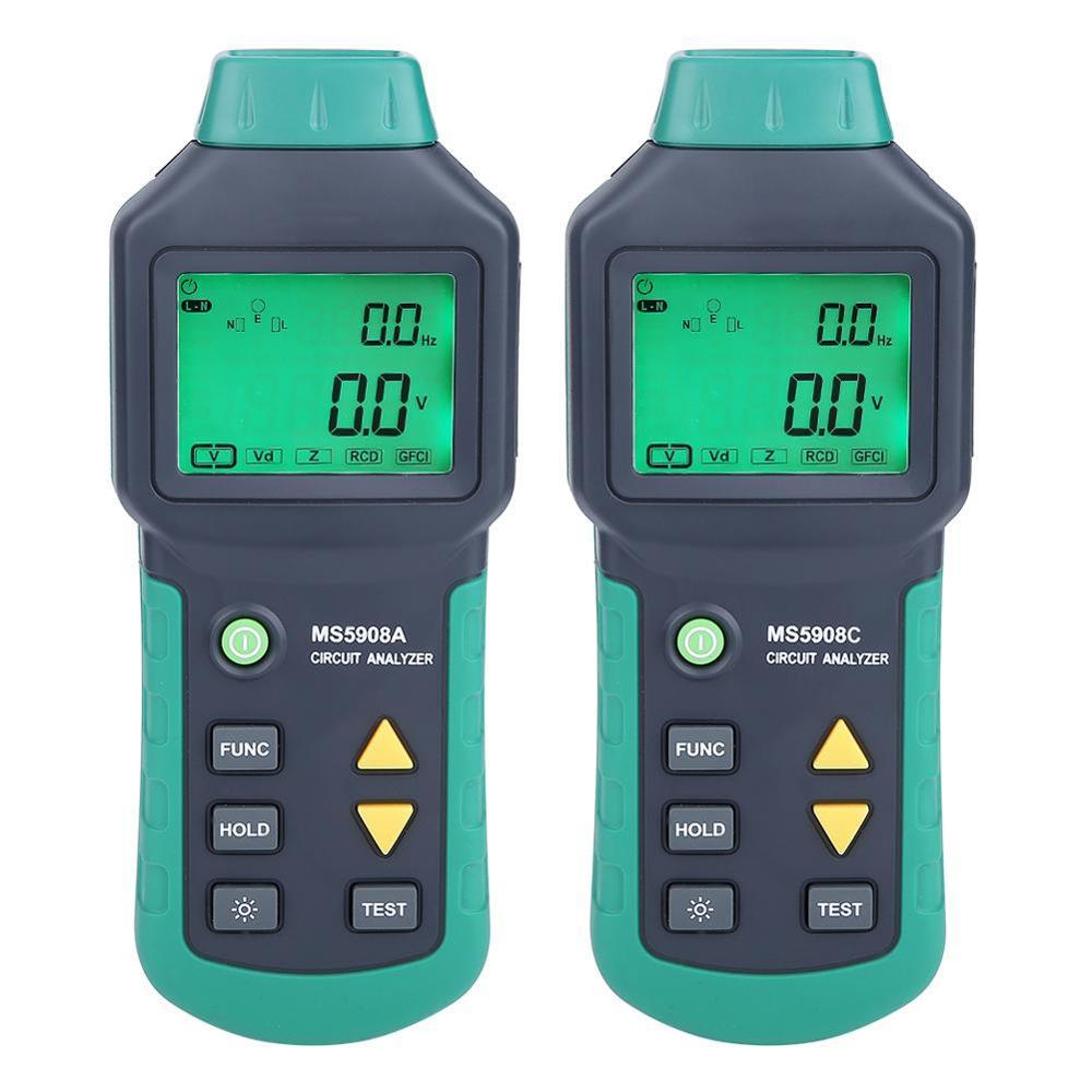 AC100-240V MASTECH MS5908A/MS5908C ЖК-анализатор цепи с напряжением GFCI RCD тестер инструменты mastech ms6818