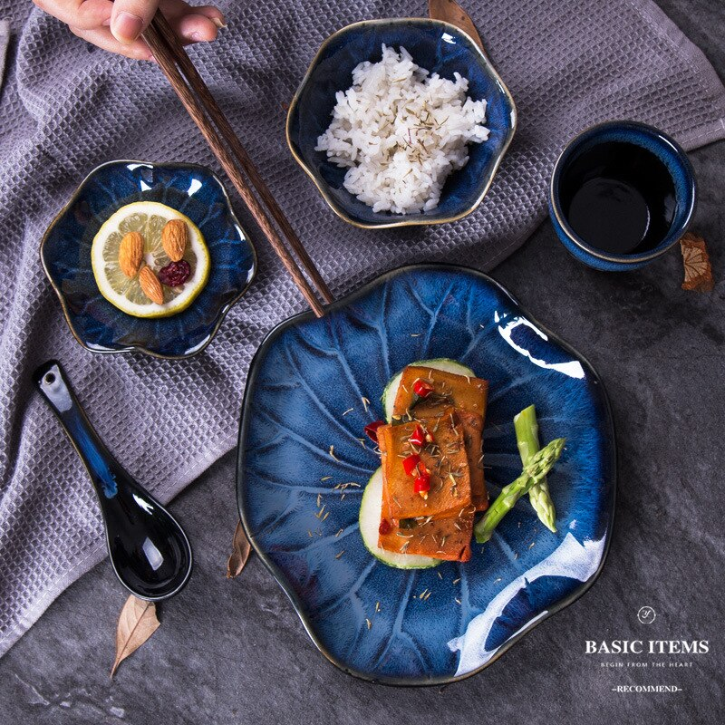 Japanese Ceramic Kiln Transformed Lotus Tableware Full Set Bowl Plate Cup Restaurant Hotel Home Tableware of Commercial