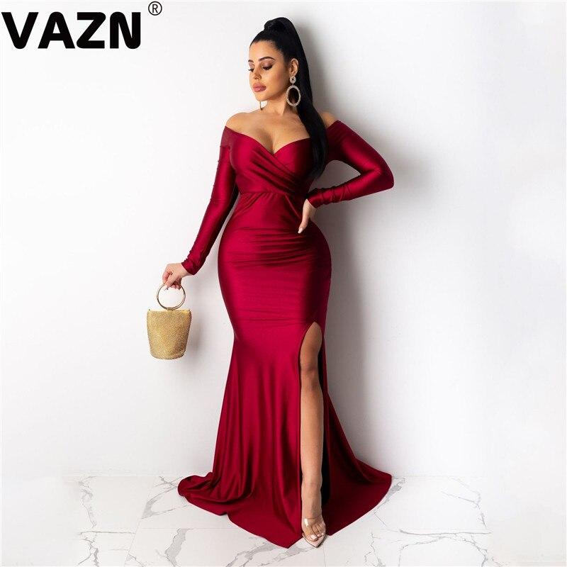 VAZN 2020 Latest Style Mature Age Sexy Night Club Sweet Fashion Solid Strapless Full Sleeve Slim Women Mermaid Maxi Dress
