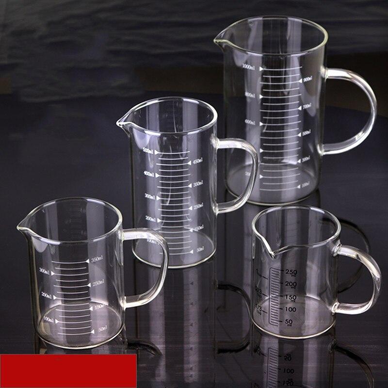 Лабораторный Градуированный стакан, микроволновый мерный стакан, устойчивый к трещинам, термостойкий стакан для воды с ручкой 250 мл-1000 мл