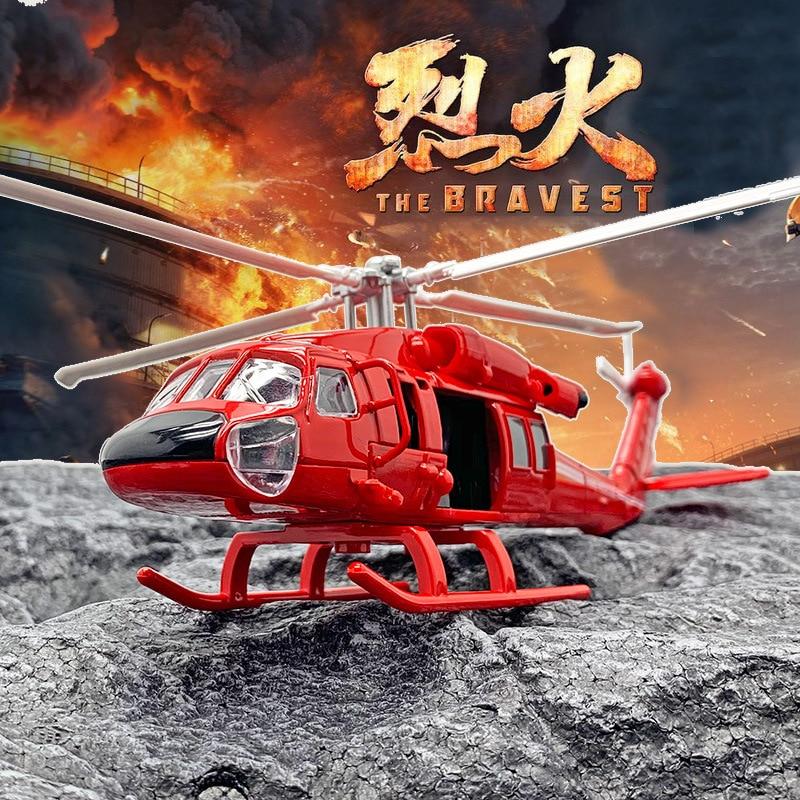 Helicóptero Halcón Negro de alta simulación modelo fuego helicóptero aleación Puerta de fácil apertura con sonido y luz modelo decoración para regalos