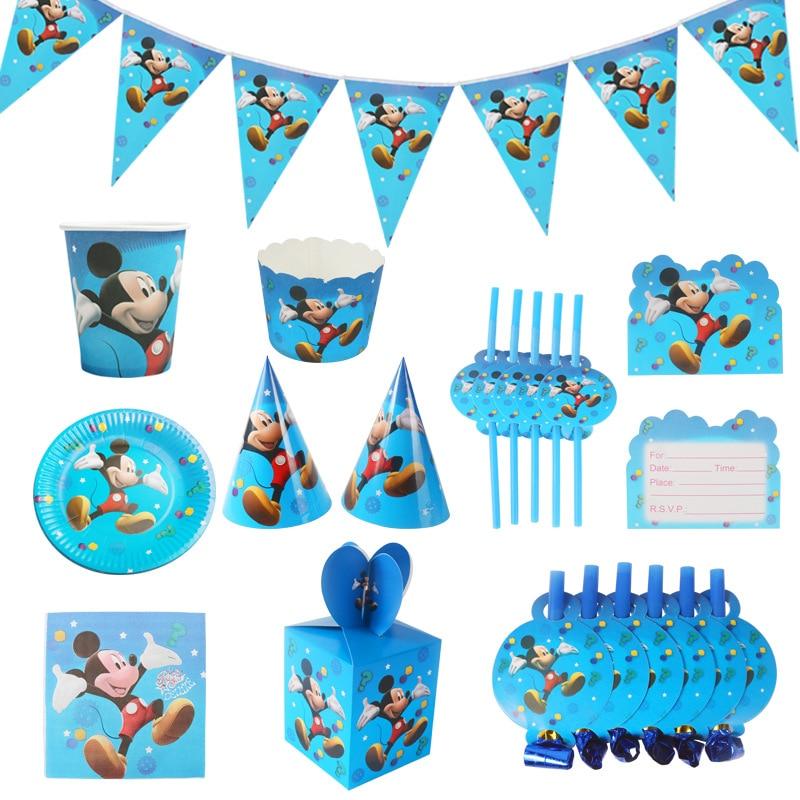 Tema de Mickey Mouse niños fiesta de cumpleaños suministros y decoraciones para fiestas de vaso, plato y servilleta de la bandera/de la bandera sombrero de paja dulces/caja de palomitas de maíz