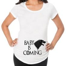 Moda mujer ropa de embarazo bebé cargando Pls espera maternidad camiseta rayas verano manga corta embarazada camiseta HOOLER
