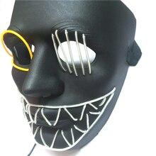 Halloween LED Mask Light Up Party Tassels Bells Animal Masks Maska Cosplay Mascara Horror Glow In Dark Ball Masquerades Supplies