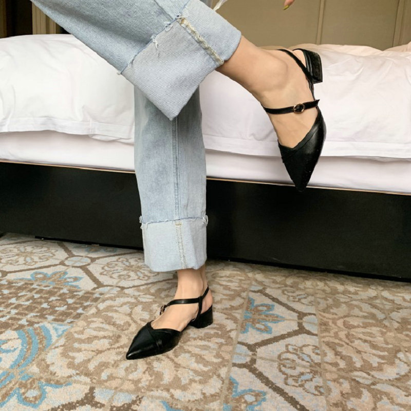 Sianie Tianie marque nouveau bout pointu carré talons bas femme chaussures boucle sangle mary janes chaussures petite taille 33 femmes sandales