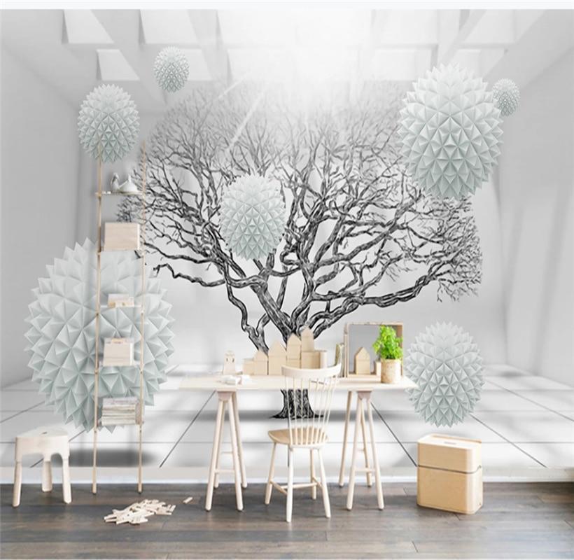 Modern fashion 3d space big tree ball TV background wall custom wallpaper 8D waterproof covering