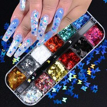 Fluorescence Butterfly Heart Fruits Various Shapes Nail Art Glitter 3D Colourful Sequins Polish Mani