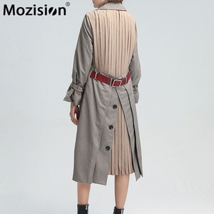 Mozision Casual Patchwork Ruched Trench For Women Lapel Long Sleeve High Waist With Sashes OL Windbreaker Female 2020 Winter