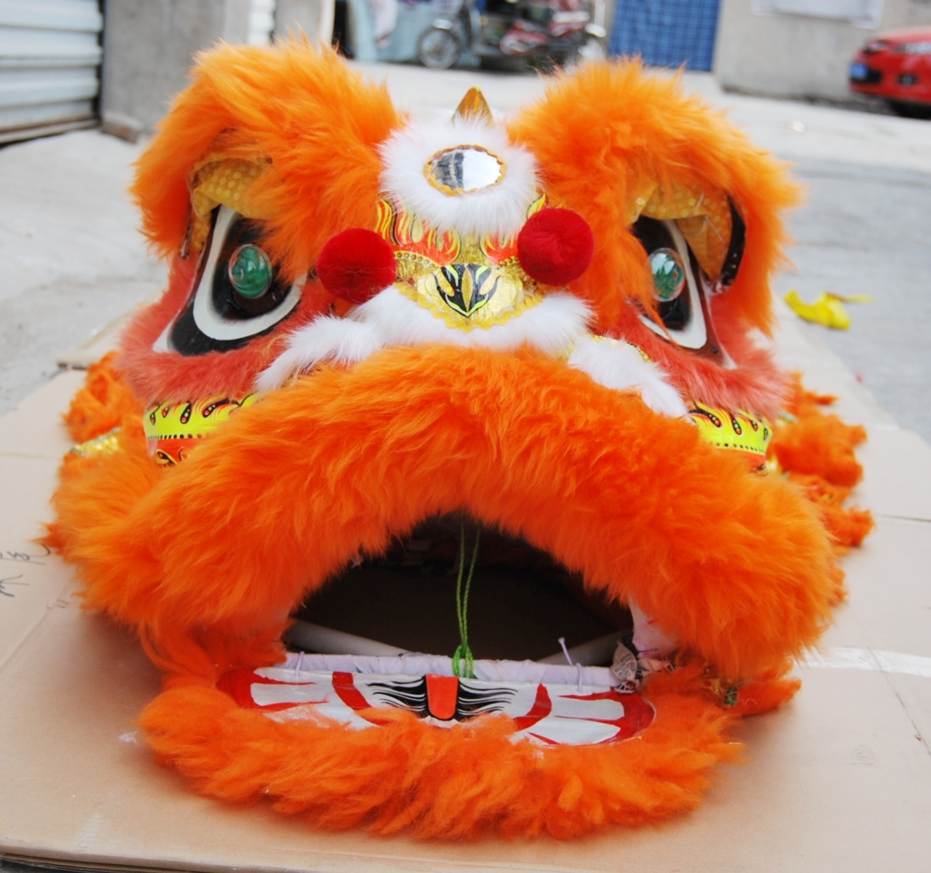 Orange Lion Dance Costume  2 Player 8-12 Age Children Play Party Performance Sport Outdoor Parade Folk Parad Stage Mascot China