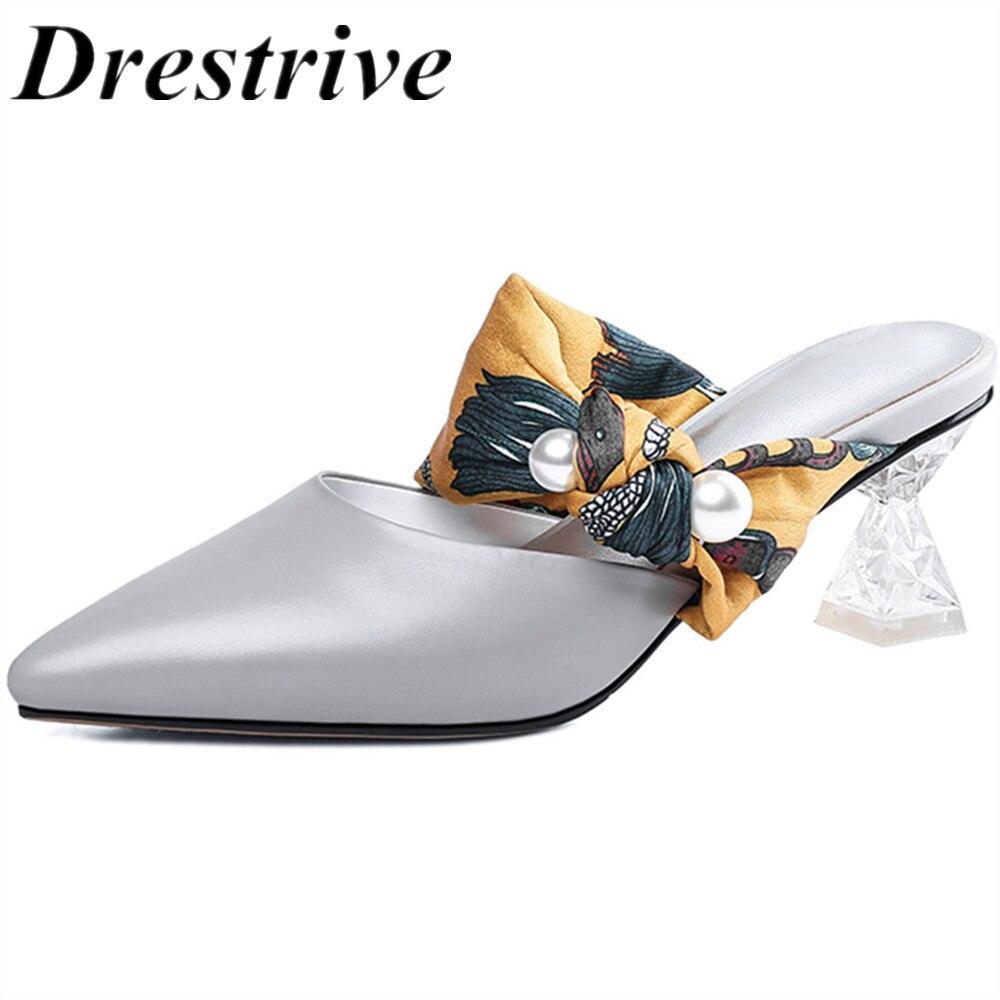 Zapatos de tacón Drestrive de cuero genuino íntegro para mujer, copa de vino de cristal con tacones, zapatos de verano de cuero de vaca para mujer de 6 CM, moda gris