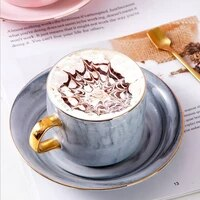 european ceramic marble coffee cup and saucer set creative english afternoon tea flower painted gold