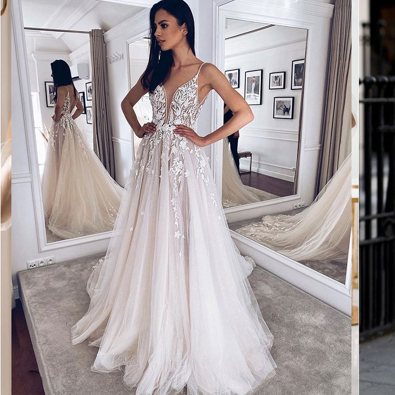 Review Wedding Dress 2021 V-neck Floor Length Lace Appliques 3D Flowers Tulle Orgzan Pleat Gorgeous Bridal Gowns Charming For Women
