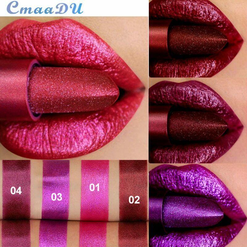 CmaaDu batom à prova dágua com glitter, maquiagem labial cosméticos de pigmento à prova dágua com brilho de longa duração com Glitter vermelho nude