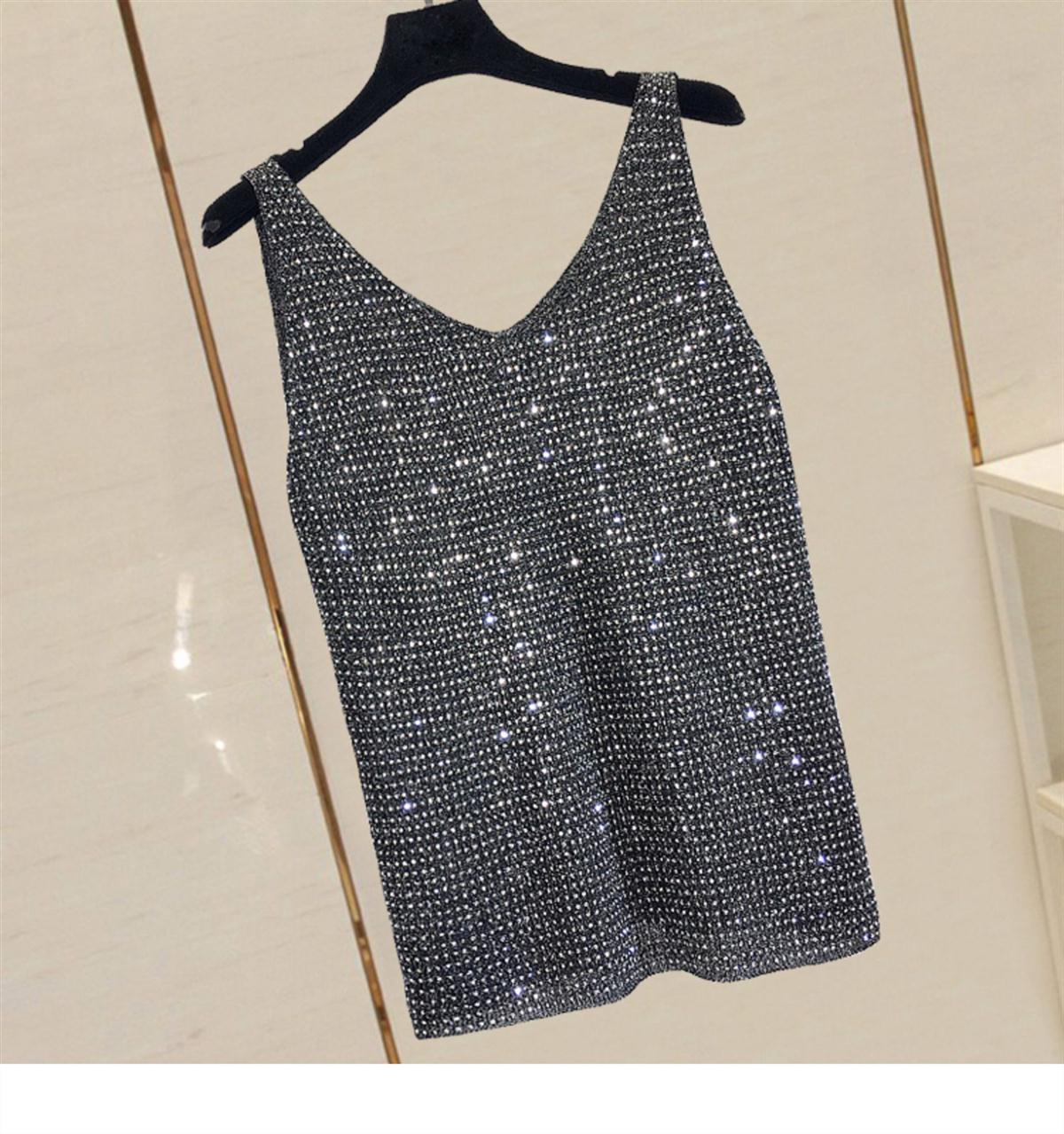 Трикотажная кофточка, Топ для женщин, летний корейский жилет без рукавов, футболка, топ с блестками, короткая форма, модный дизайн, большие майки