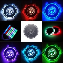 2XLED coaster Cup lights For alfa romeo 4C 159 147 156 giulietta MiTo Giulia Stelvio Gloria ALFA GT Luminous Coaster Accessories