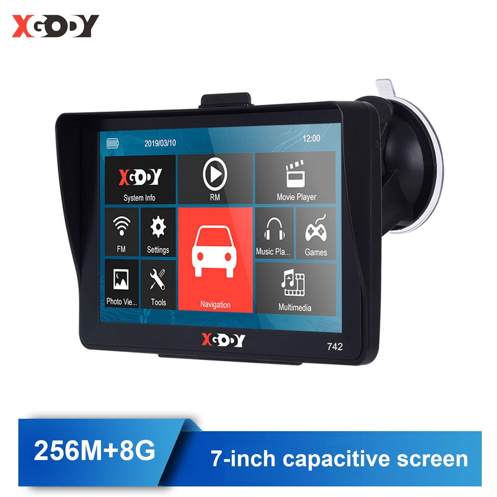 Xgody 742 Car GPS Navigator 7 inch Truck GPS Navigation With Sunshade Touch Screen 256M+8G Sat Nav Russia Navitel Free Maps FM
