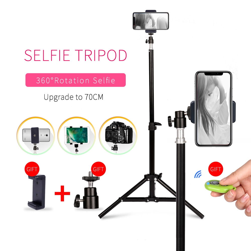 Fotografía 1/4 cabeza de tornillo Selfie Luz Portátil trípode soporte con Bluetooth teléfono remoto Clip cabeza de bola para Mini estudio de fotografía