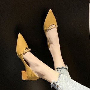 High-heeled single shoes women's autumn new fashion pointed shoes thick heel two wear women's shoes high heels