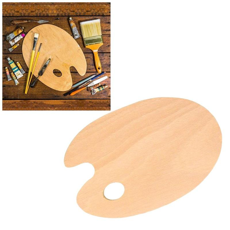 1Pcs Wooden Artists Paint Palette With Thumb Hole Smooth Palette Supplies Stationery Art Painting Oval Grip Office School H V0L6 enlarge