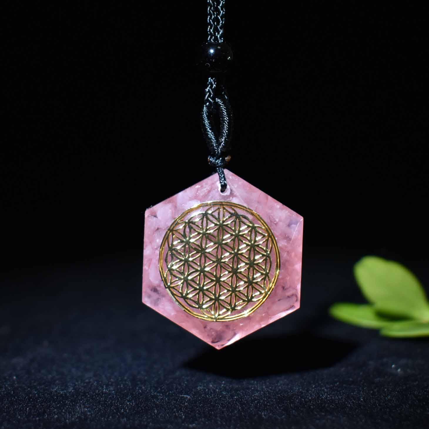 Pingente de cristal Natural pedra de Orgone cola queda flor da vida pendente gerador de reiki meditação chakra Seis Estrelas Pingente LMX01