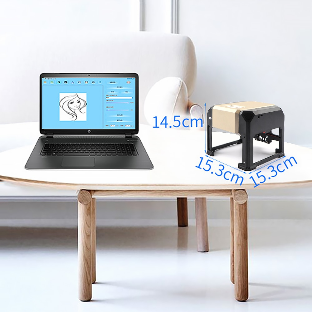 ALLSOME  80x80mm Laser Engraver Home Professional DIY Engraving Desktop Wood Router Cutter Printer For Logo Mark K5 CNC 3000mw enlarge