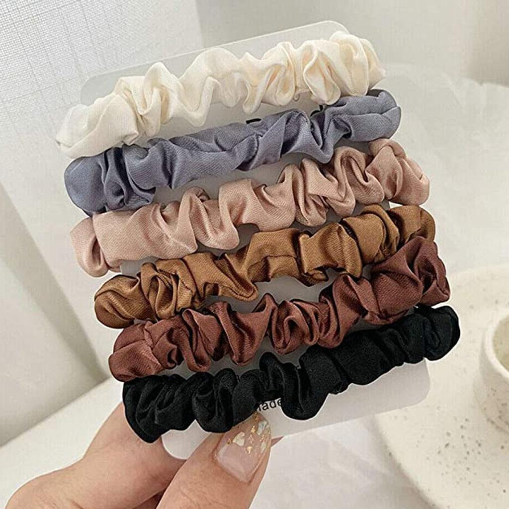 Conjunto de 6 colores de pelo scrunchies lazos elásticos pelo seda satén Scrunchie Cola de Caballo accesorios de cuerdas chouchou cheveux femme # J05