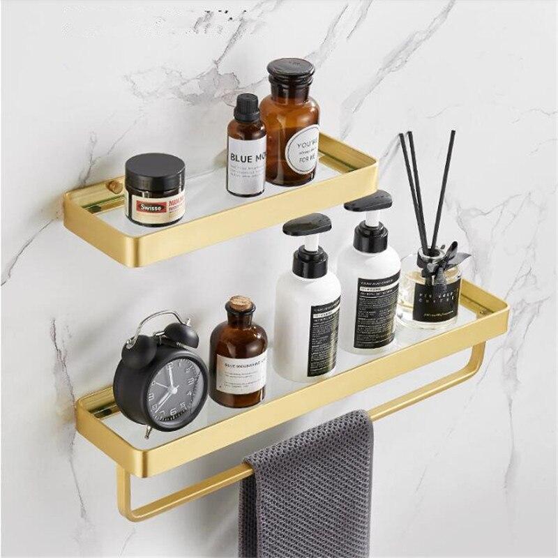 Tiqiu رف حمام مع قضيب منشفة من الألومنيوم, Tiqiu رف حمام من الزجاج الذهبي المصقول 30-50 سنتيمتر حامل تخزين المطبخ من الألومنيوم