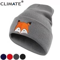 climate women fox beanie winter warm hat cap new cute fox lovely skulls knitted hat for adult teenagers boy girls women