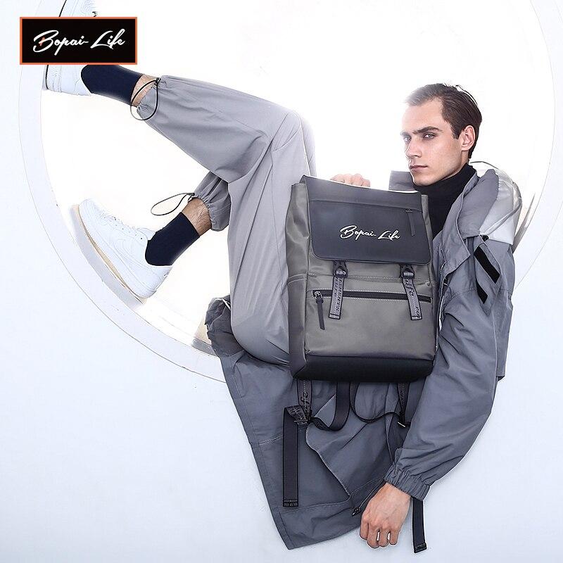 BOPAI LIFE-حقيبة ظهر للكمبيوتر المحمول مقاس 15.6 بوصة للرجال ، حقيبة مدرسية للكمبيوتر المحمول ، طالب الكلية ، حقيبة سفر