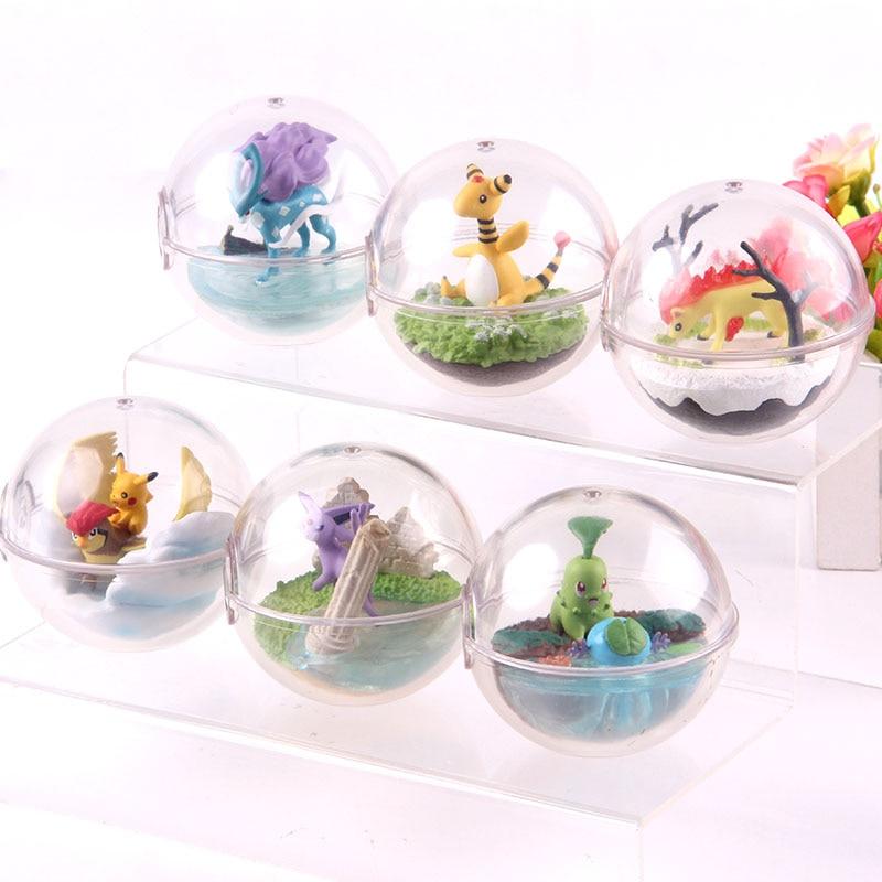 Figuras de monstruos de Anime Ampharos Pidgeotto Chikorita Wooper Ponyta Suicune Espeon figuras de acción de PVC juguetes modelo para niños 6 unids/set