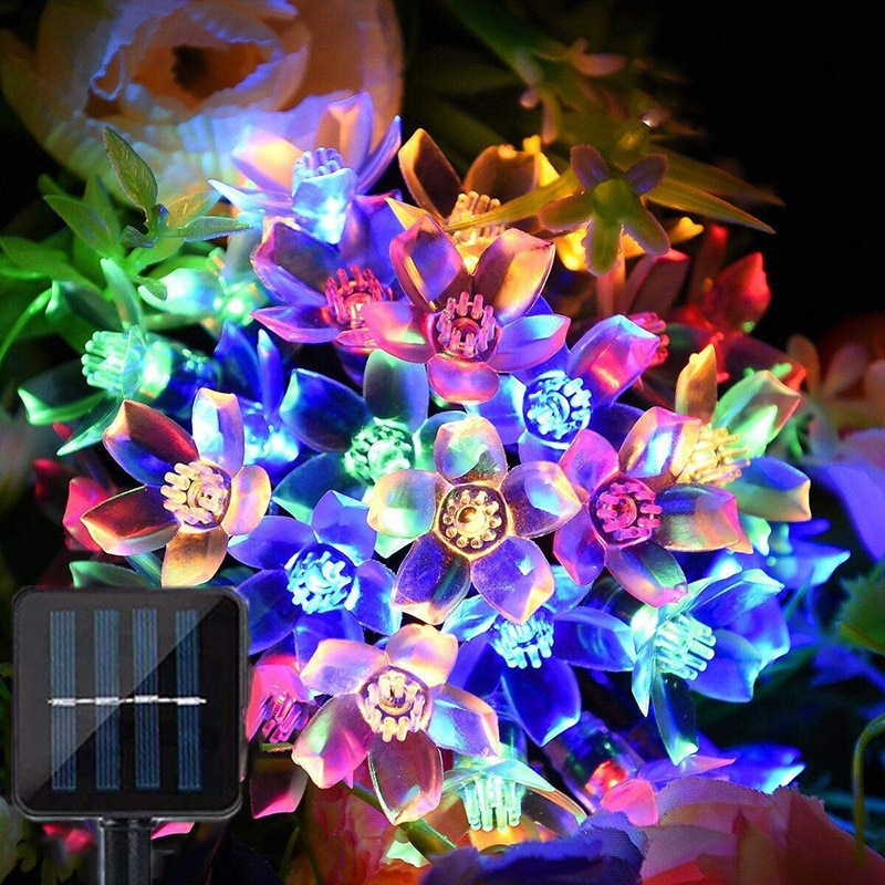 Cherry LED Fairy String Lights Solar Garden Christmas for Wedding Party Decoration Xmas