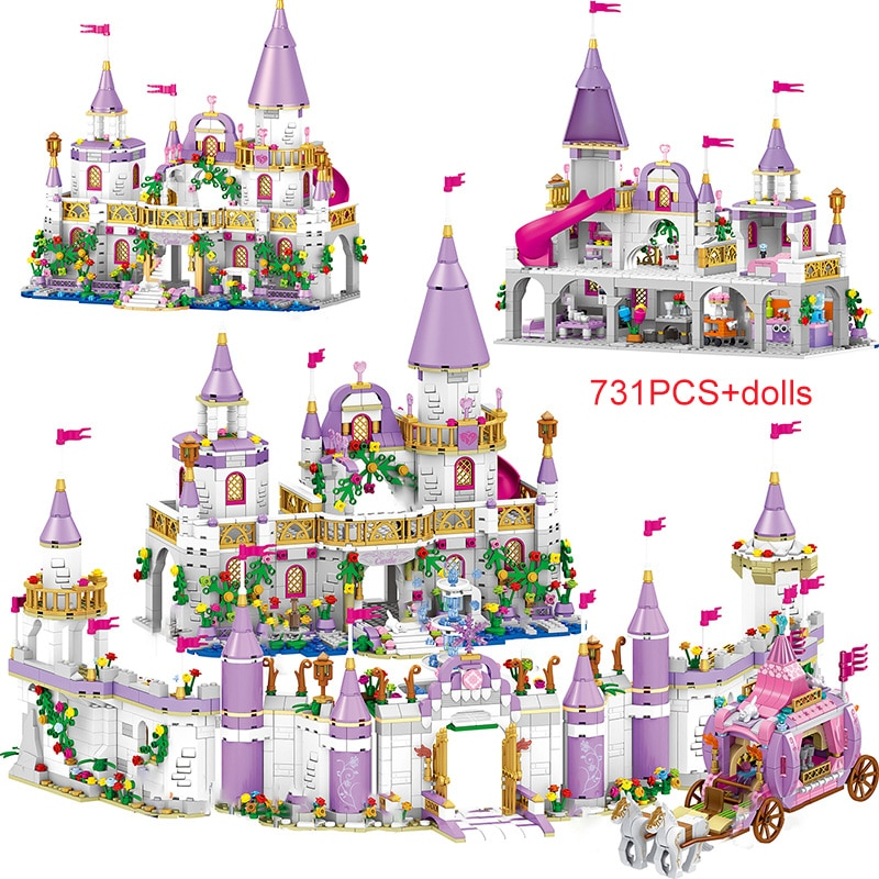 10551 elves ragana s magic shadow castle model building blocks bricks toys girls toys compatible with lego gift kid set girls 731PCS Princess Series Castle Building Blocks Magical Ice Castle Bricks Compatible Girls Friends Educational Toys For Children