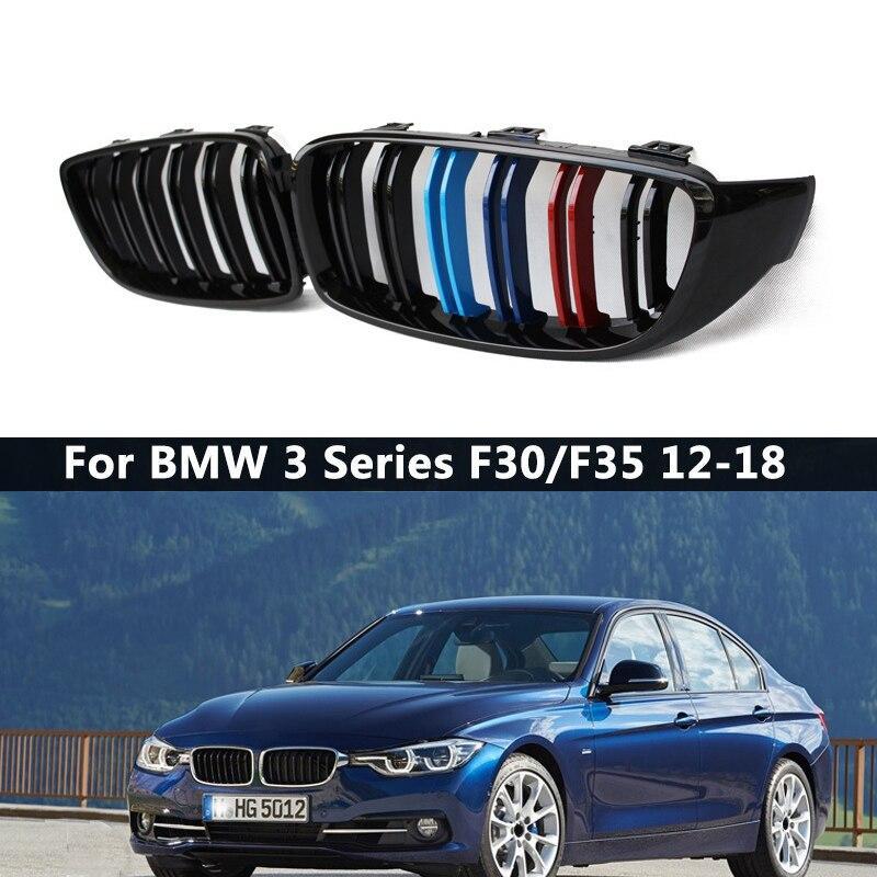 1 زوج الأسود اللامع/M نمط الجبهة الكلى مصبغة سباق المشابك BMW 3-سلسلة F30 F31 F35 2012-2018 سيارة التصميم