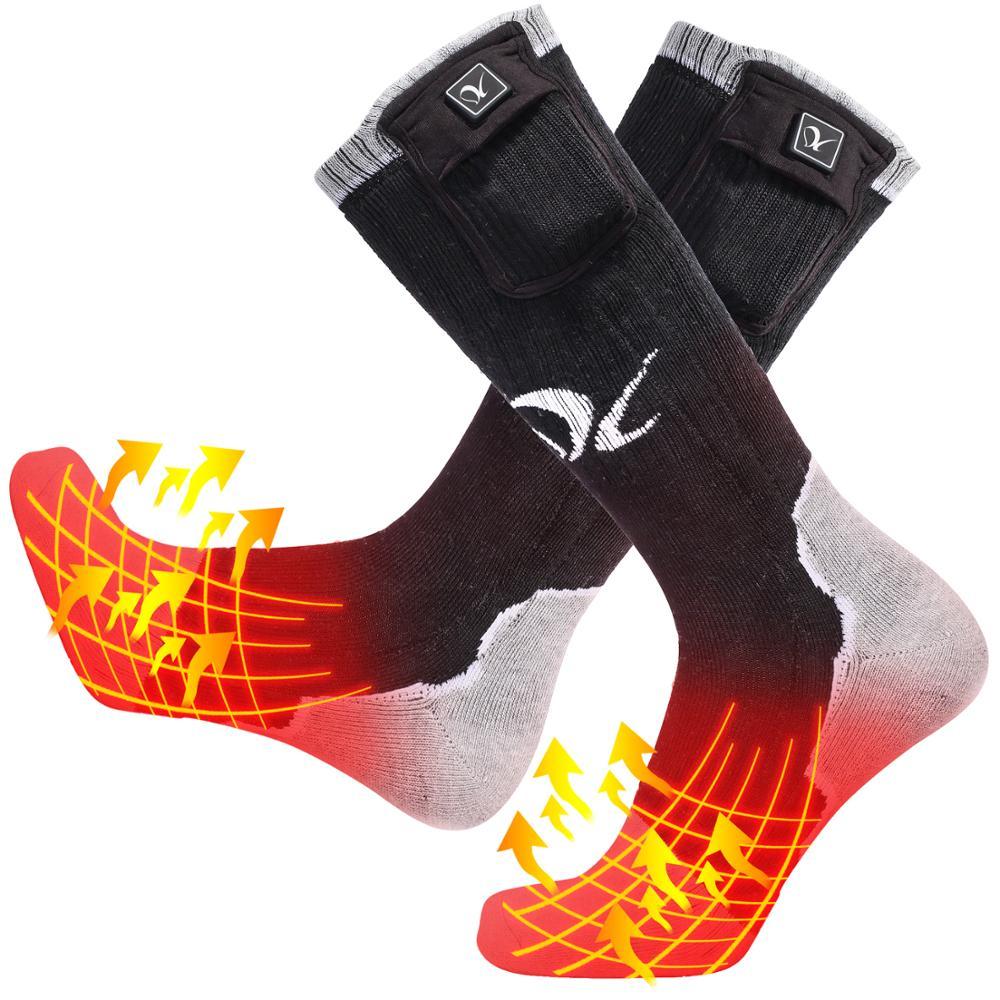 Día Lobo nueva calefacción en invierno de esquí calcetines para ciclismo hombres y mujeres cálido pesca calefacción Calcetines calientes