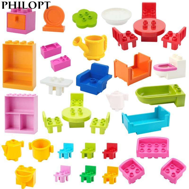 Большие строительные блоки, аксессуары для кухни и ванной комнаты, совместимые с Duplo, большие кирпичи, развивающая игрушка «сделай сам», дет...