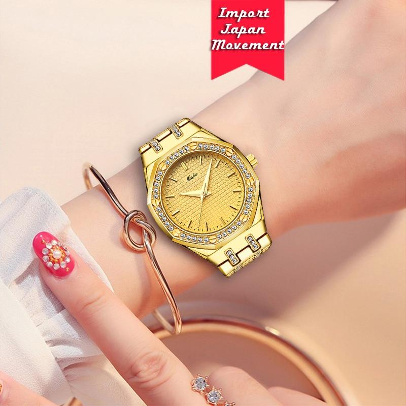 MISSFOX Women's Watch 35mm Bling-ed Luxuious Bezel CZ Gold Watch Japan Quartz Movement Simulated Lab Diamonds Ladies Wrist Watch enlarge
