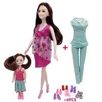 11 5 inch solid body barbies pregnant barbies doll 5 small doll suitcase children toys package doll accessories
